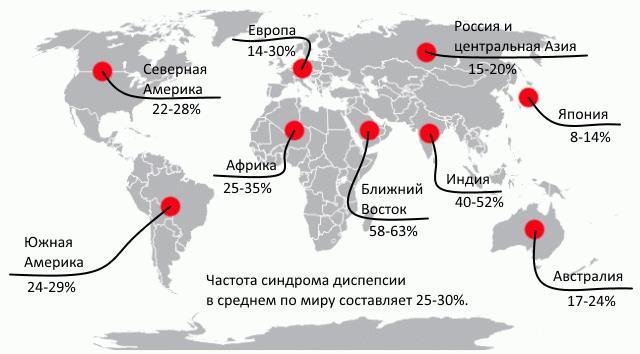 Распространение диспепсии на карте мира